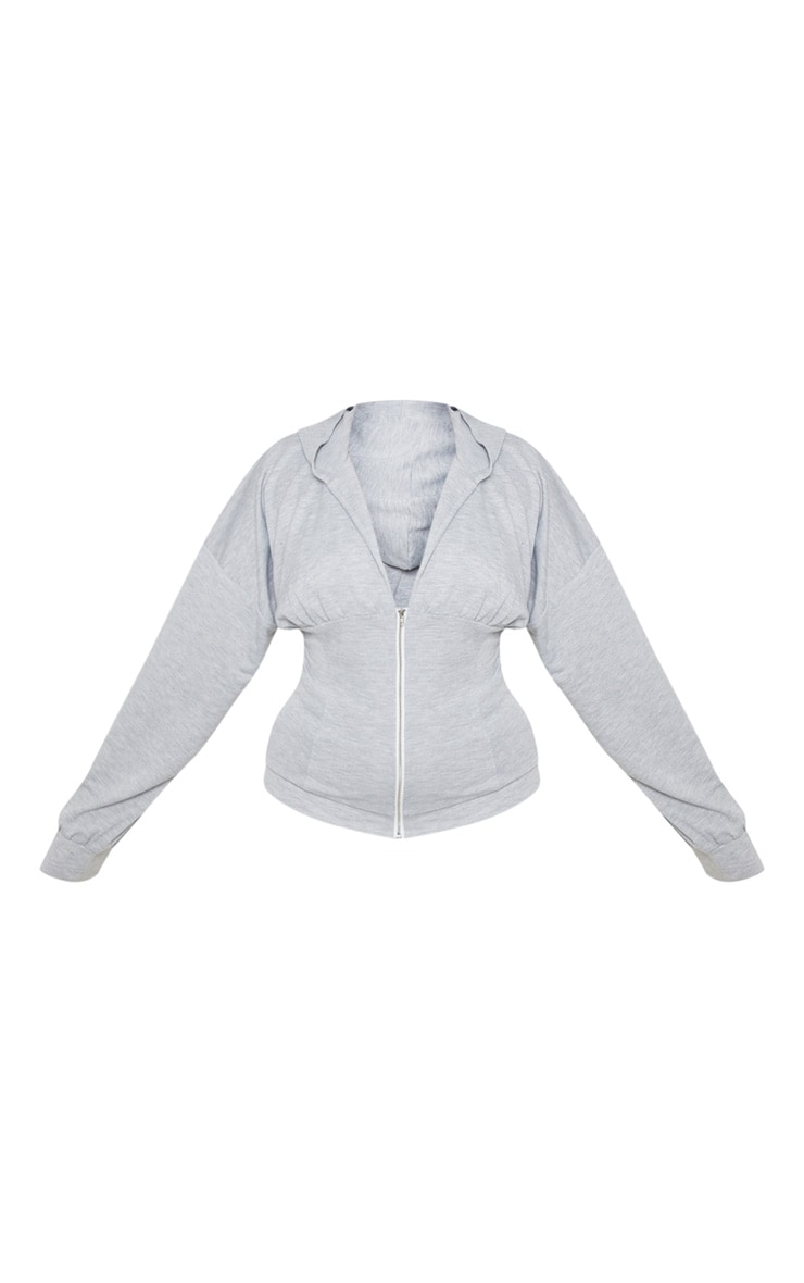 Plus Grey Ruched Zip Hoodie 3