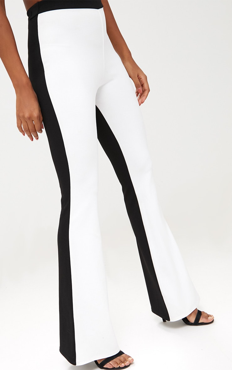 Black Contrast Leg Flared Trousers 5