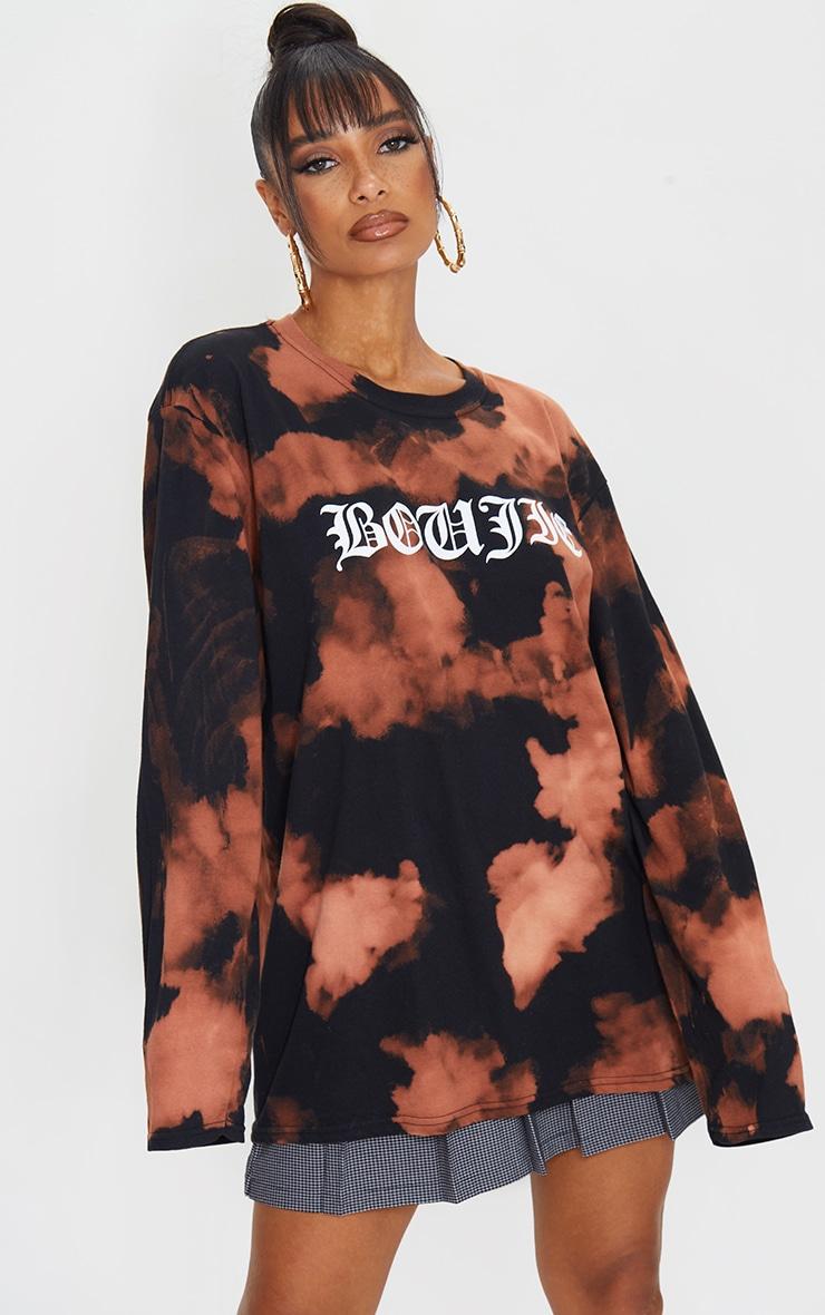 Orange Acid Wash Boujie Printed Long Sleeve T Shirt 1