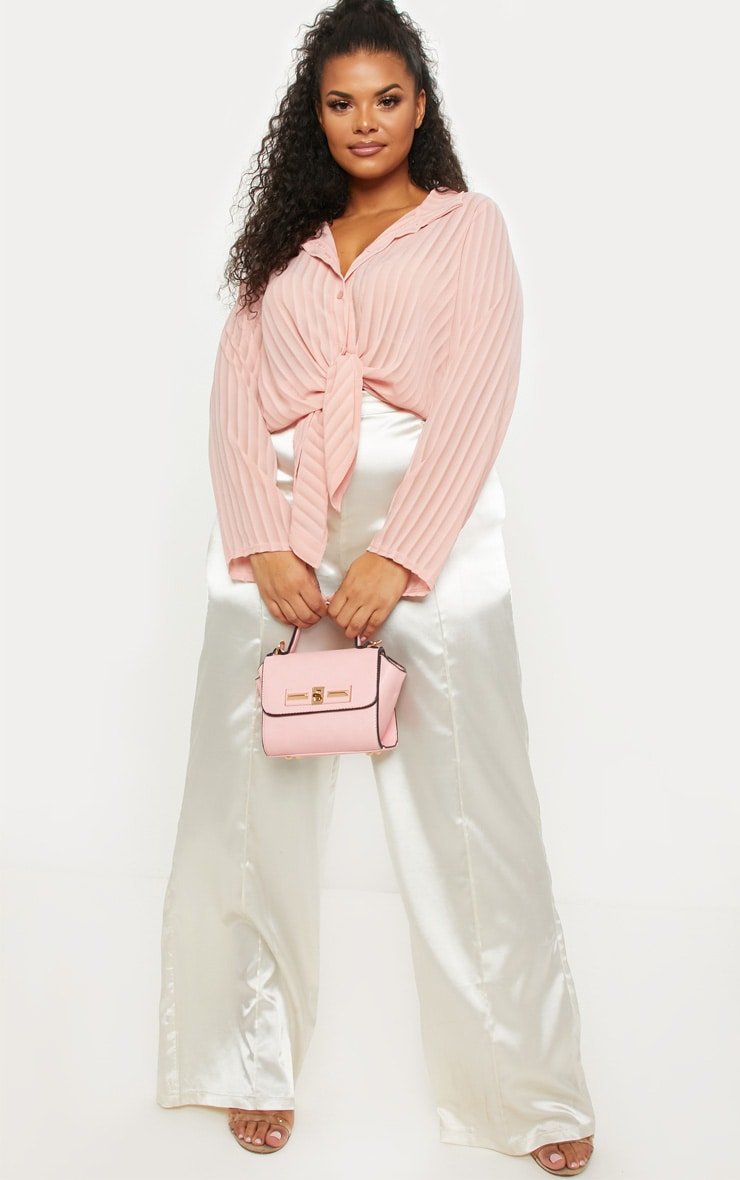 Plus Dusty Pink Striped Chiffon Oversized Shirt 4