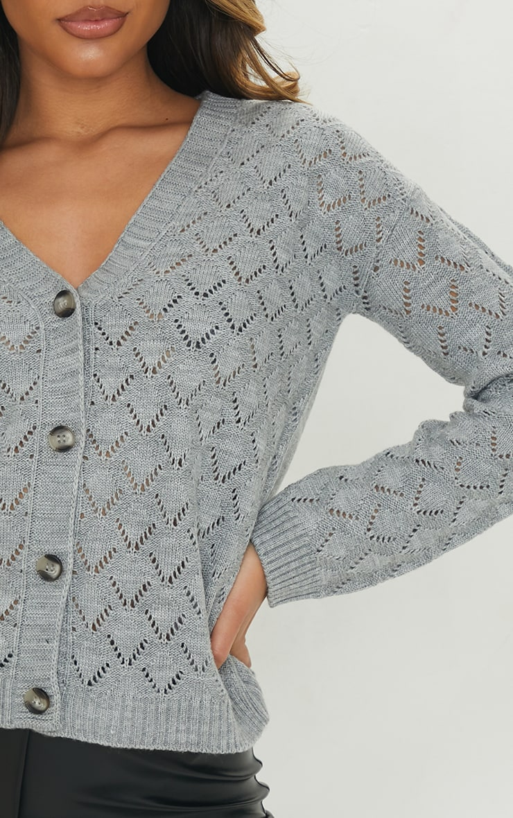 Grey Pointelle Button Up Slouchy Cardigan 4