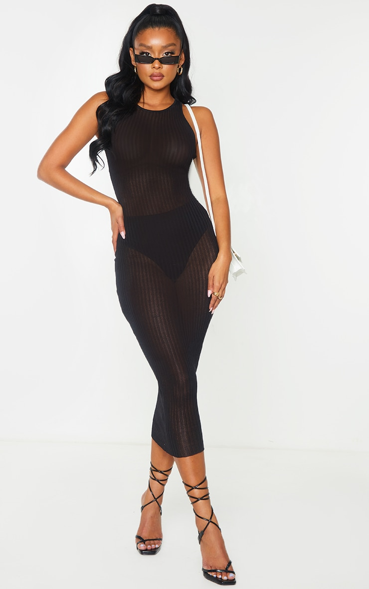 Black  Sheer Knit Underbust Detail Midi Dress 1
