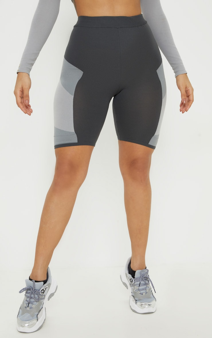 Grey Seamless Knit Panelled Gym Cycle Short 2