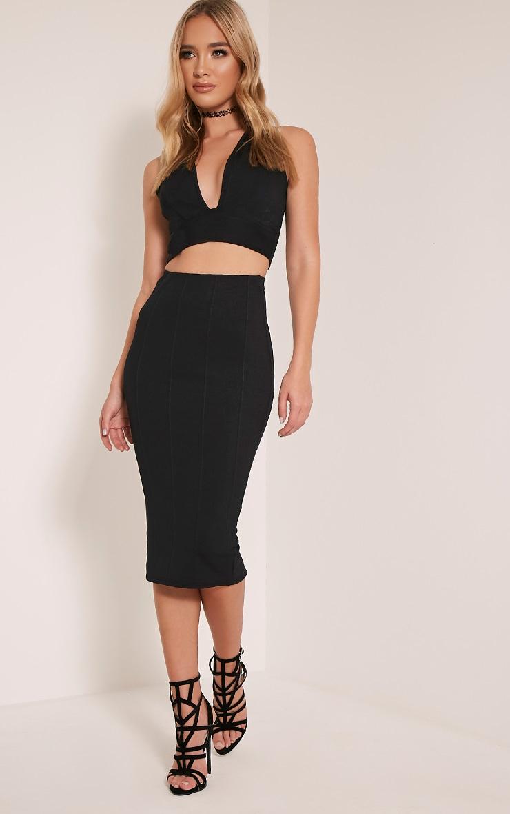 Cecelia Black Bandage Midi Skirt 1