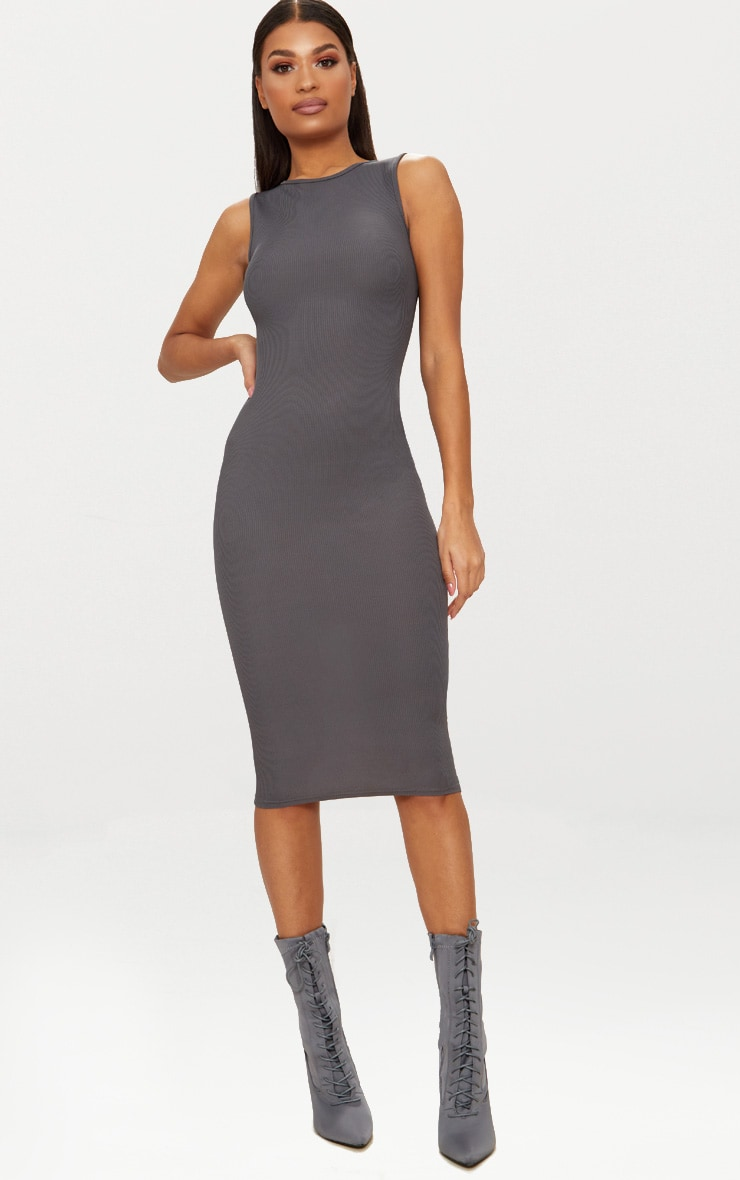 Charcoal Grey Ribbed Neck Midi Dress 1