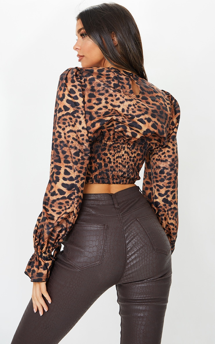 Tan Woven Animal Print Ruched Waist Long Sleeve Blouse 2