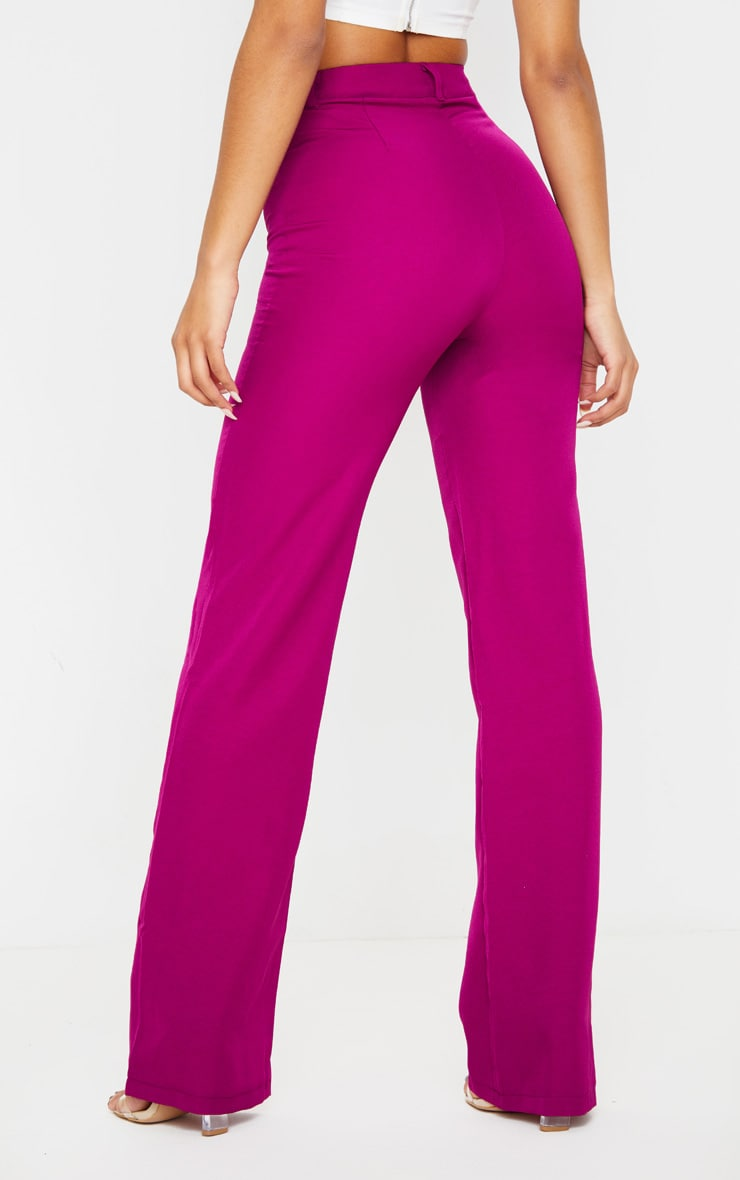 Fuchsia Anala High Waisted Straight Leg Trouser 4