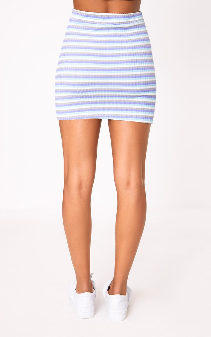 Lilac Ribbed Stripe Mini Skirt 4