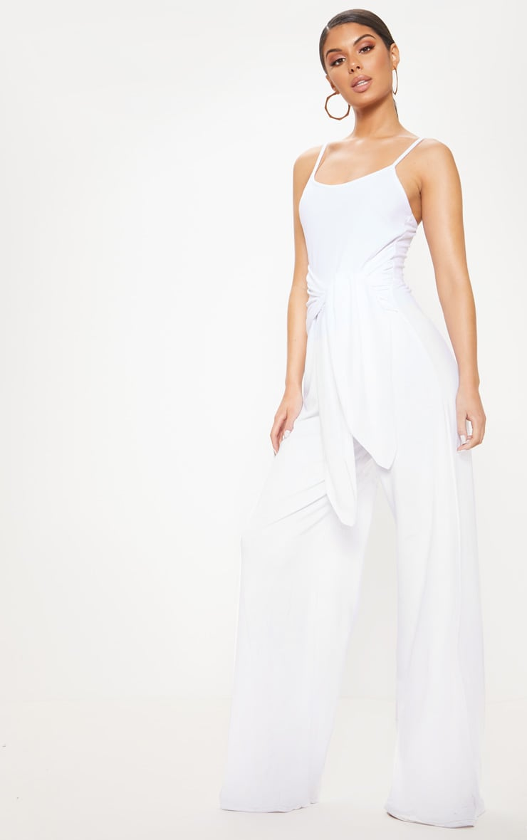 7a453dae9a27 White Strappy Tie Waist Wide Leg Jumpsuit image 1
