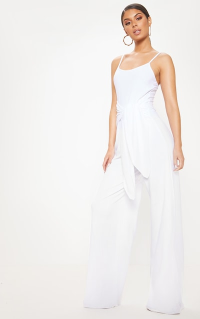 4349367b2ad White Strappy Tie Waist Wide Leg Jumpsuit