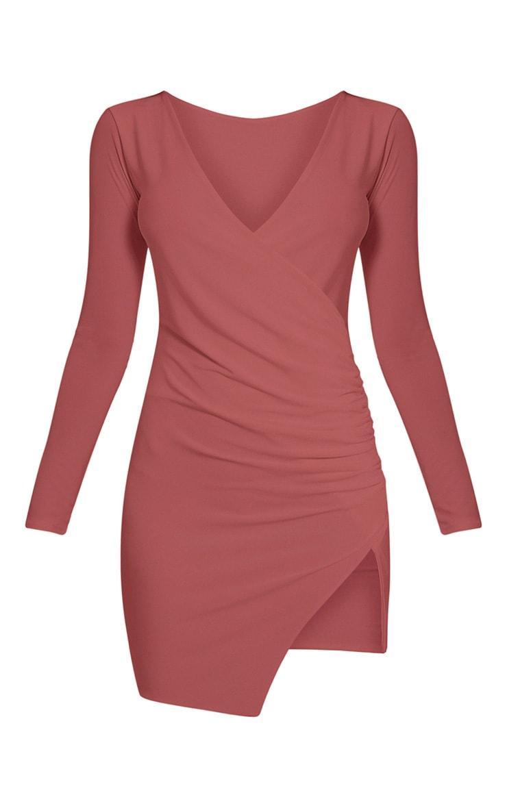 Iona Rose Slinky Wrap Over Bodycon Dress 3