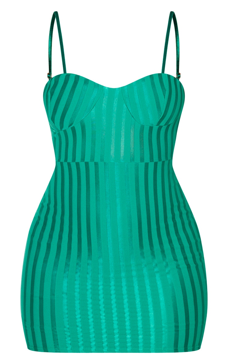 Emerald Green Strappy Cup Detail Bodycon Dress 3