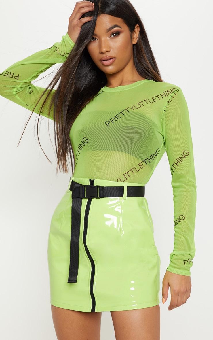 Mini,jupe en vinyle vert citron fluo à zip et ceinture