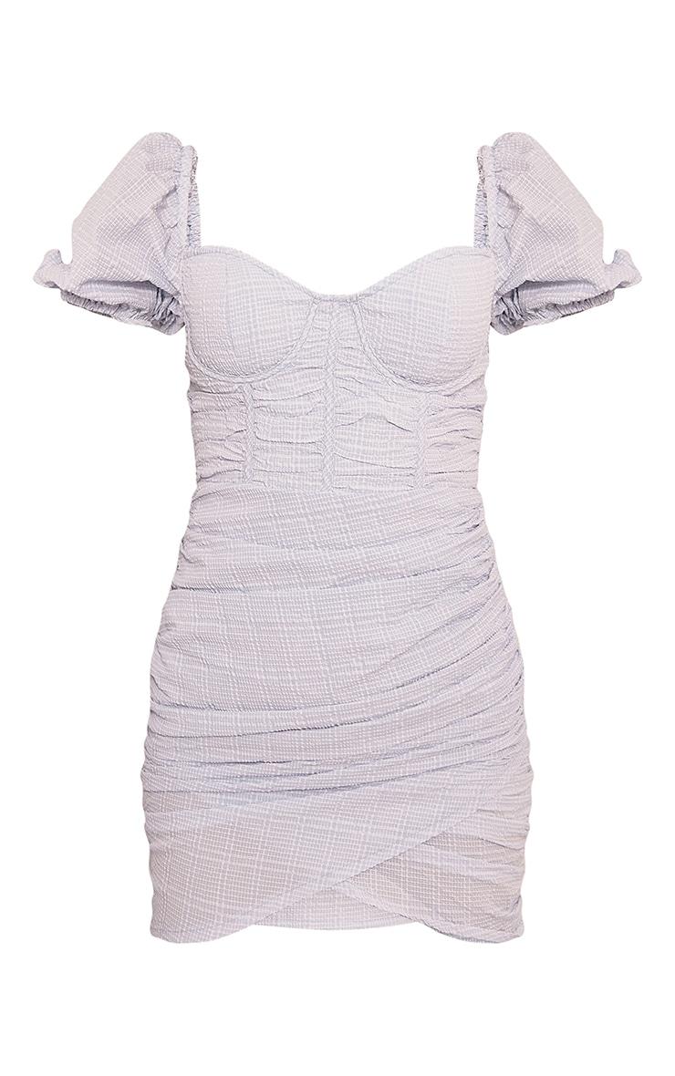 Baby Blue Textured Corset Detail Bodycon Dress 5