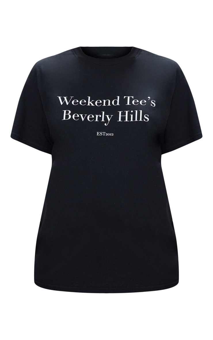 Black Weekend Tee Slogan Oversized T Shirt  3