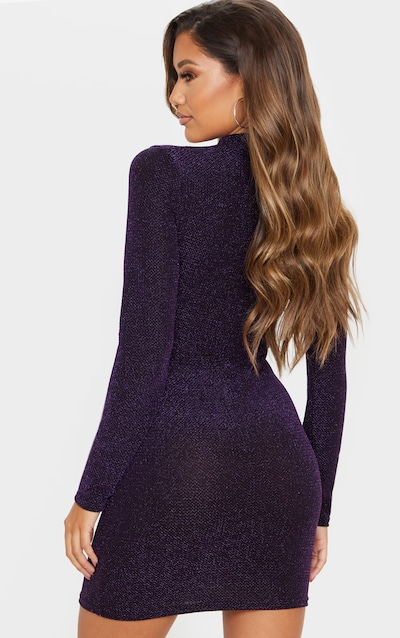 Purple Sheer Glitter High Neck Long Sleeve Bodycon Dress
