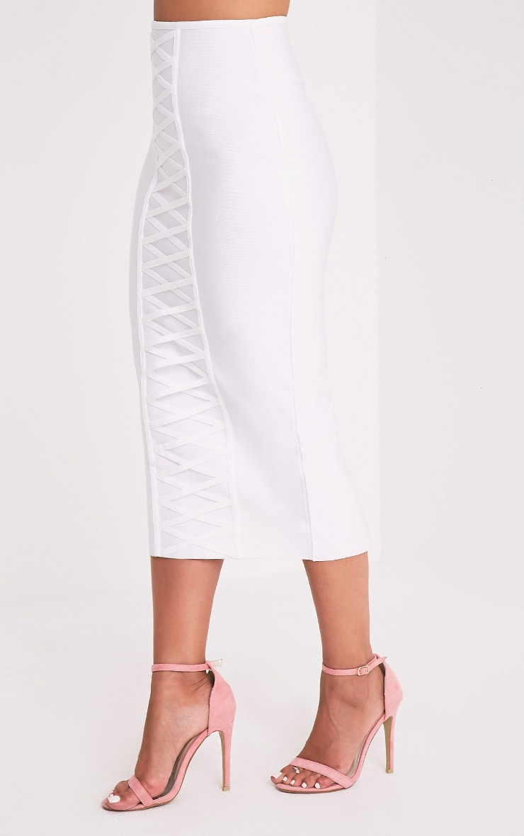 Kailyn White Bandage Lattice Detail Midi Skirt 3
