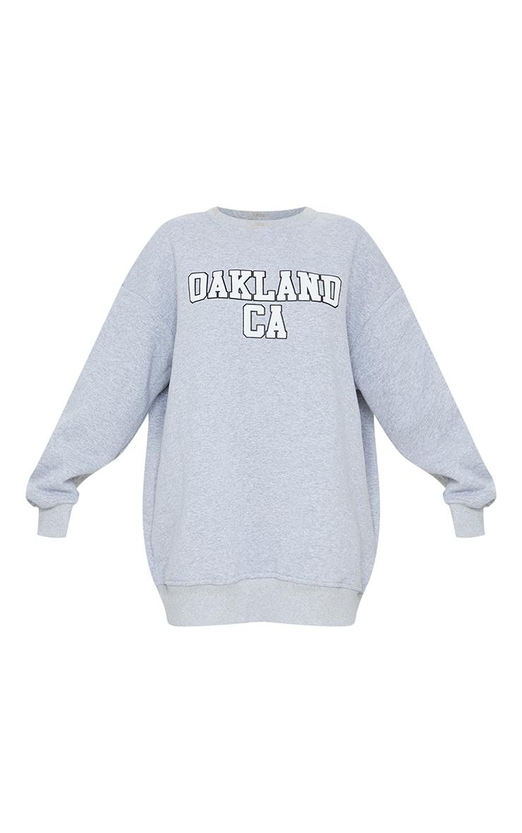 Grey Oakland Slogan Oversized Sweatshirt Dress 5