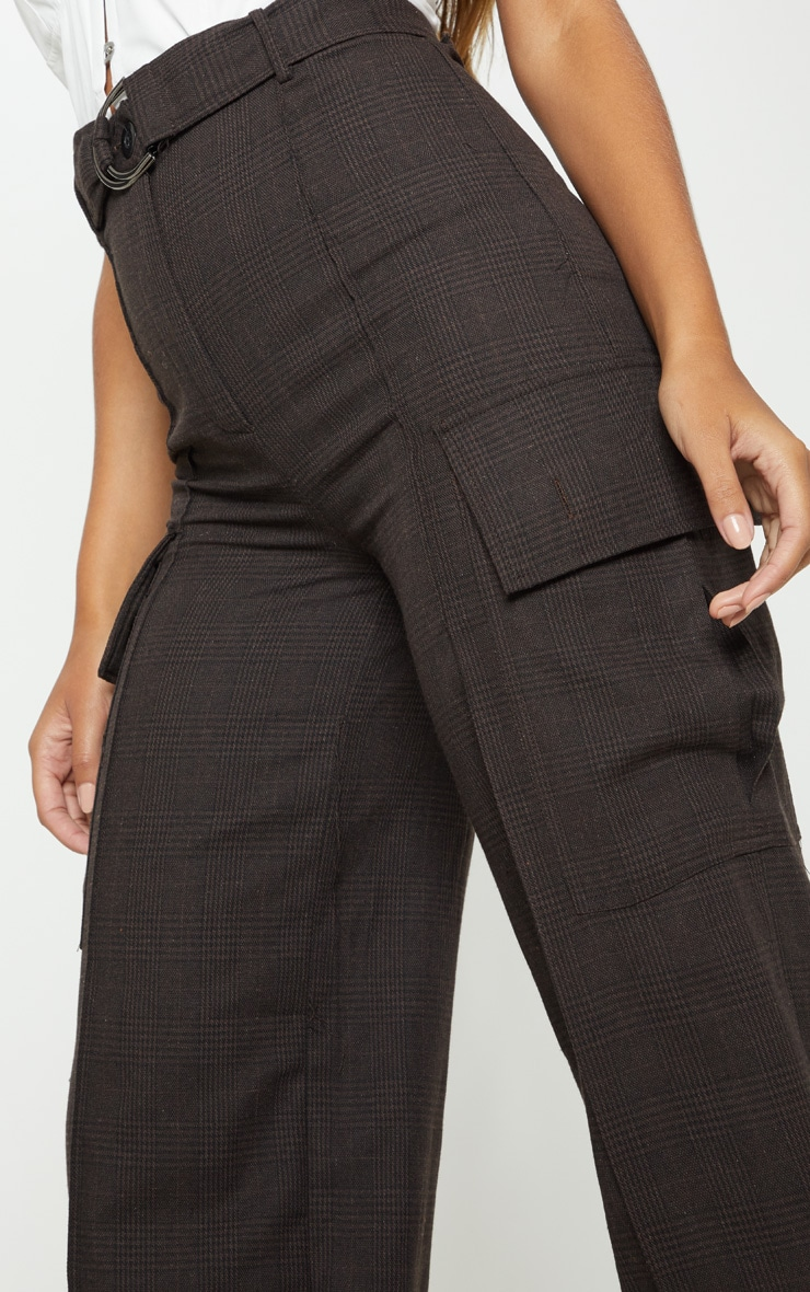 Chocolate Check D Ring Pocket Wide Leg Pants 5