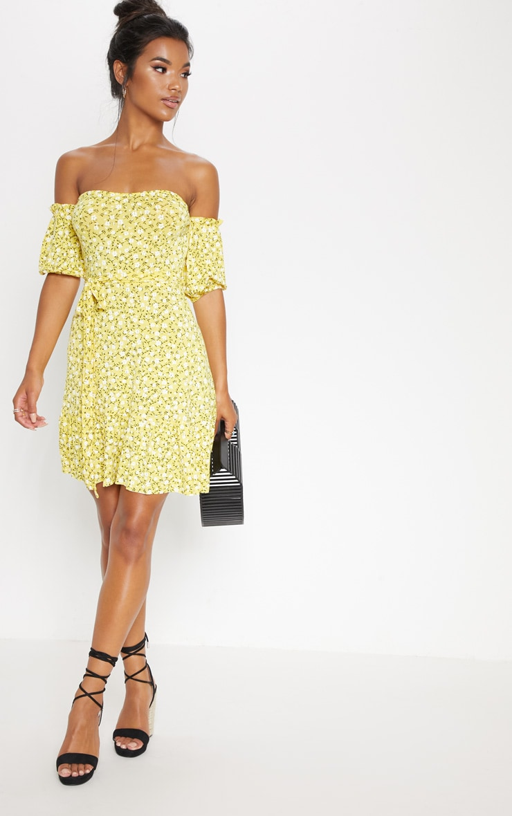 Recycled Yellow Ditsy Print Frill Hem Bardot Skater Dress 3