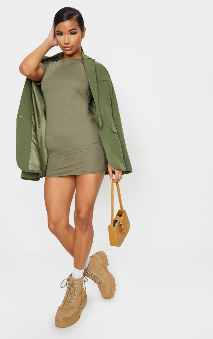 Khaki Short Sleeve Bodycon Dress 3