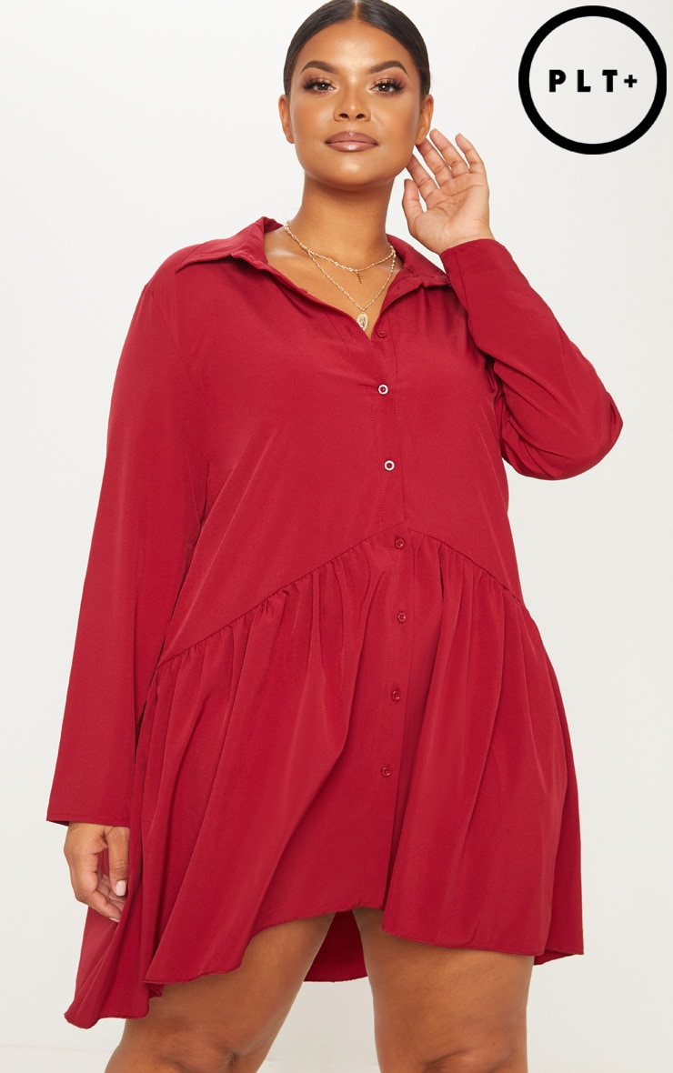 Plus Burgundy Frill Hem Button Up Shirt Dress