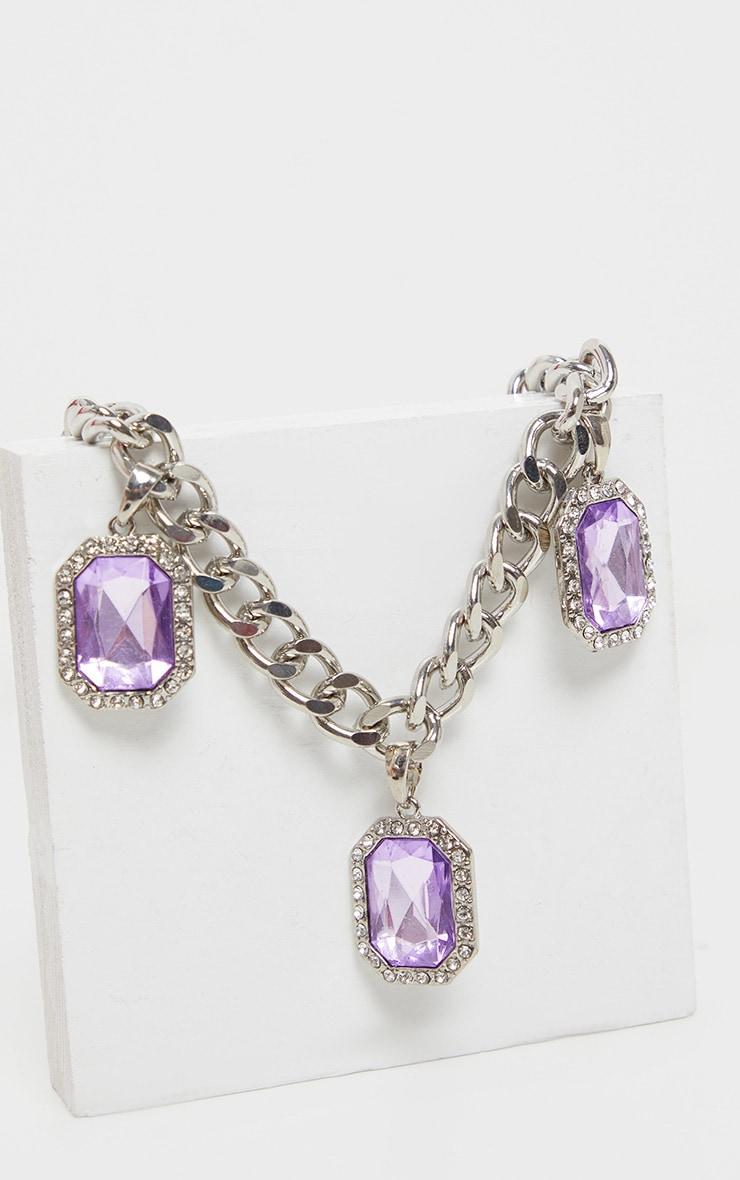 Silver Lilac Drop Chain Choker        3