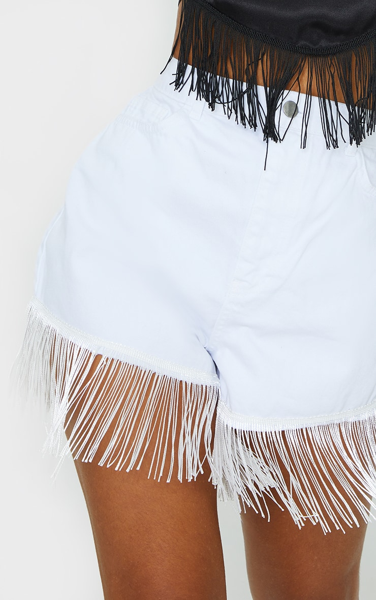 White Tassel Hem Denim Shorts 5