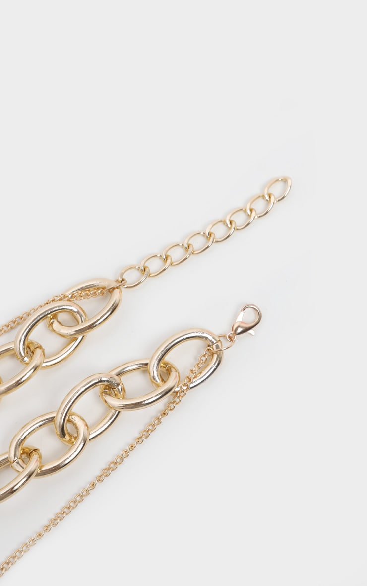 Gold Chunky Chain And Padlock Layering Necklace 4