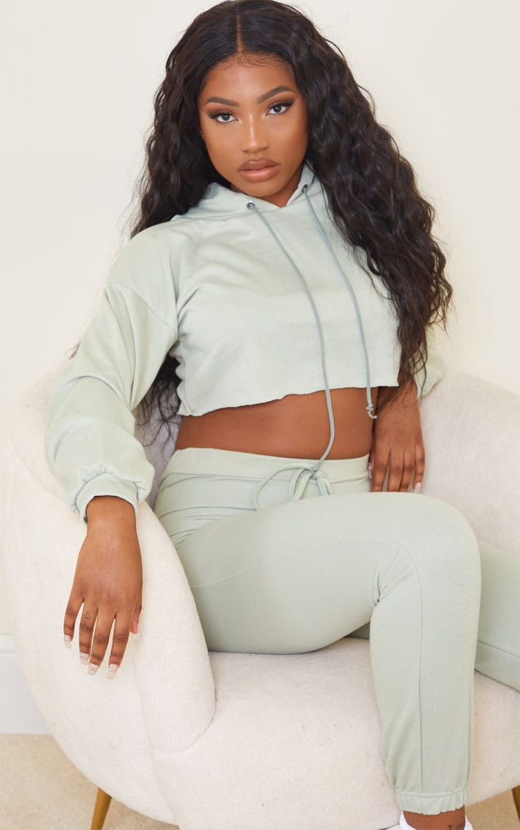 Sage Green Lightweight Raw Hem Cropped Hoodie 1