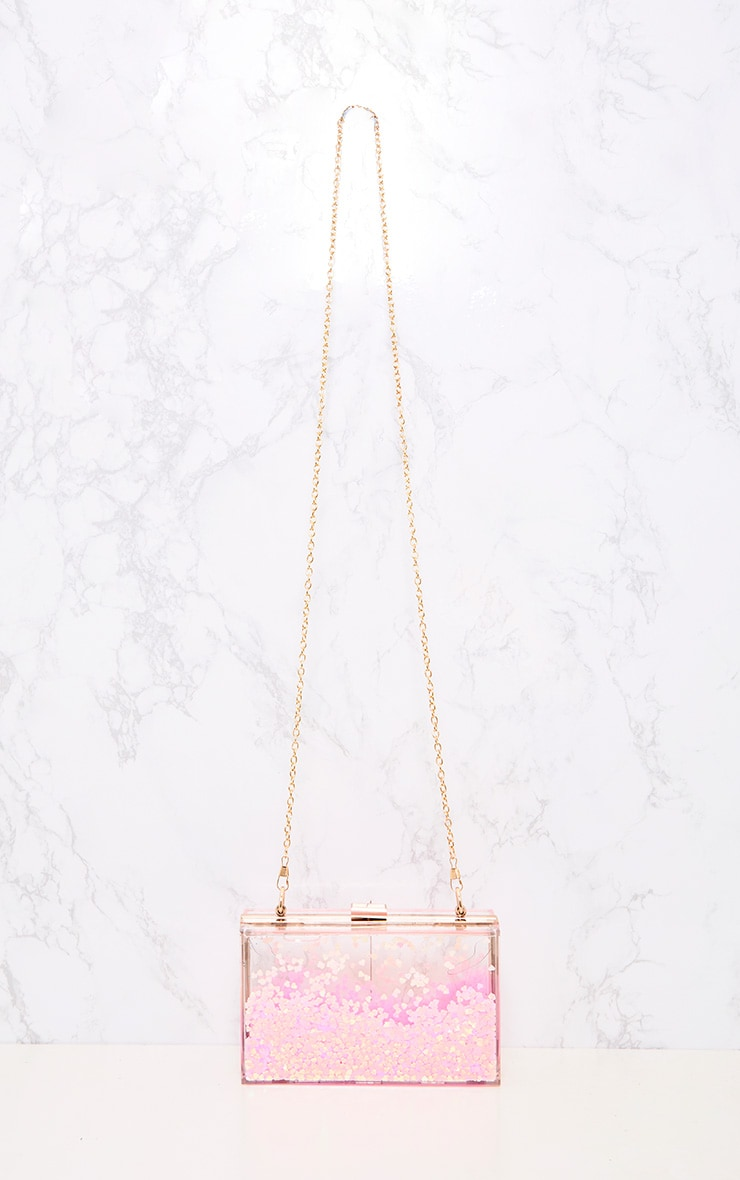 Pink Sequin Clear Box Clutch 4