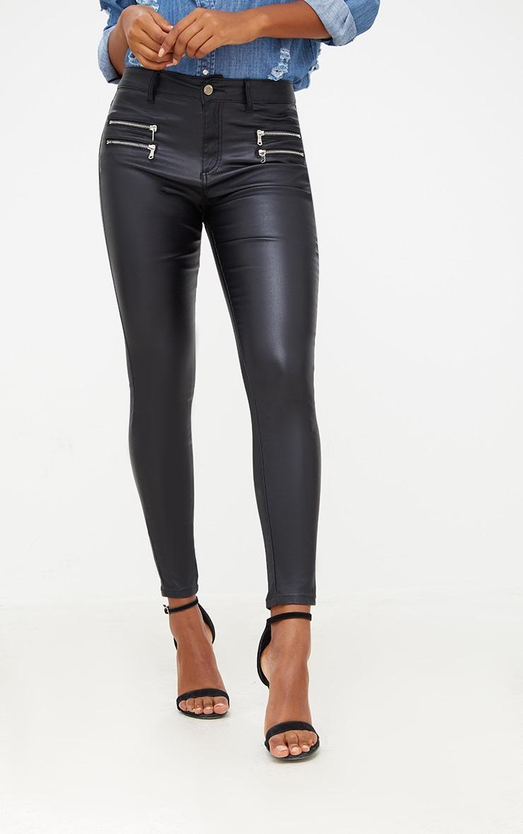 Black Coated Skinny Biker Jean 2