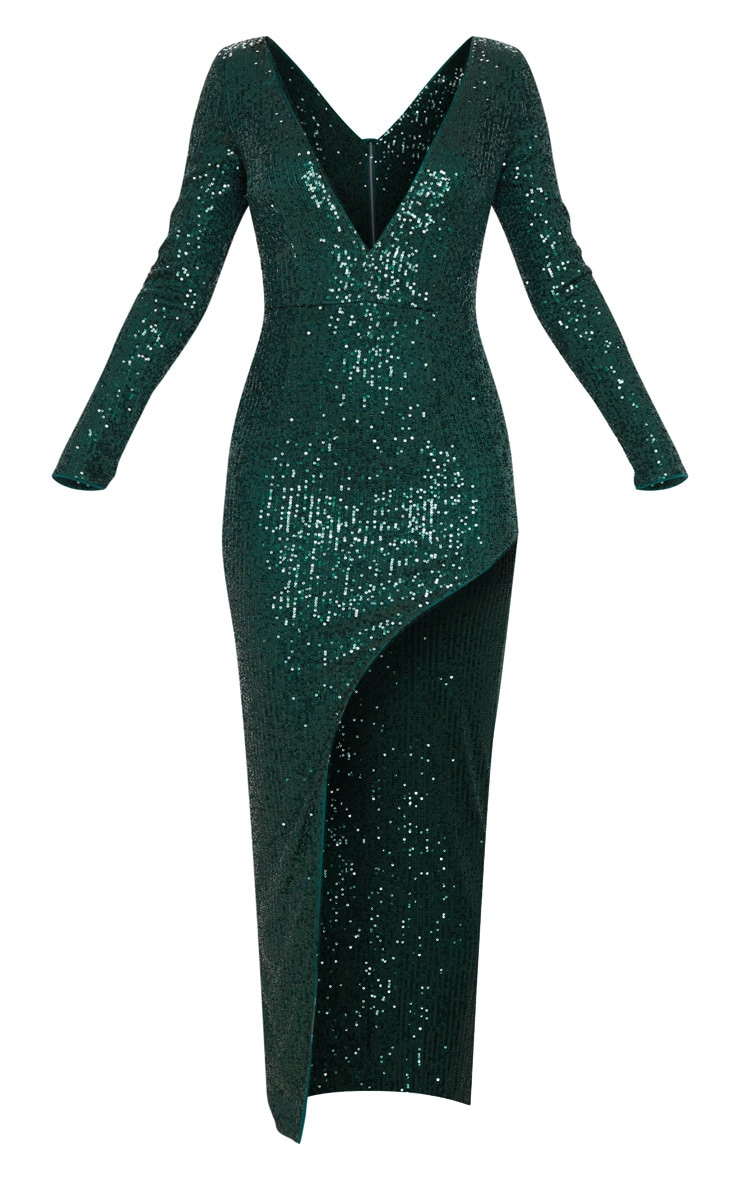 Emerald Green Sequin Long Sleeve Plunge Maxi Dress 3