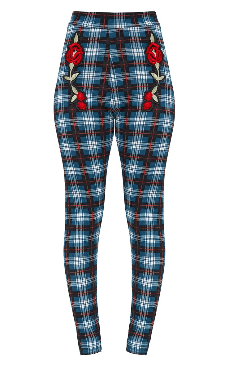 Forest Green Check Applique Skinny Trousers 3