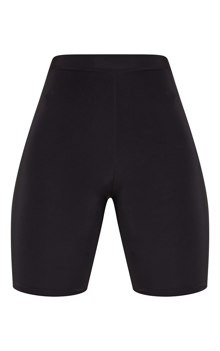 Tall Black Slinky High Waisted Cycle Shorts 6