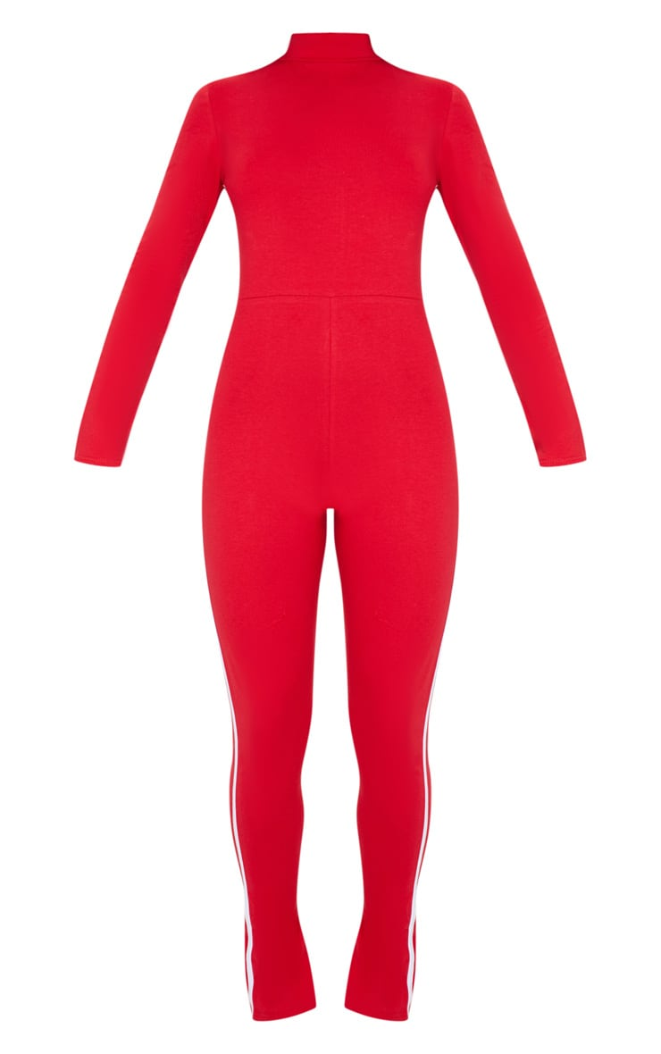 Red Sports Stripe High Neck Jumpsuit 5