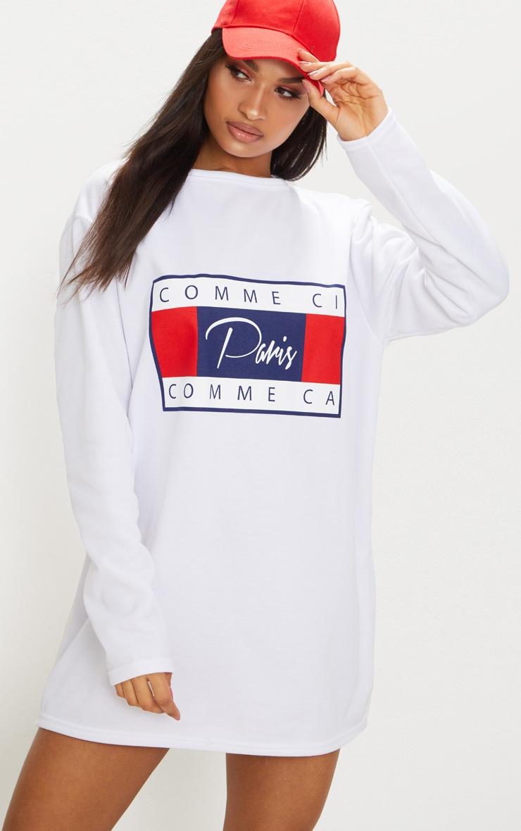 White Comme Ci Print Jumper Dress 1