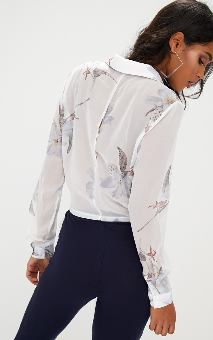 White Print Wrap Front Tie Side Blouse Tops