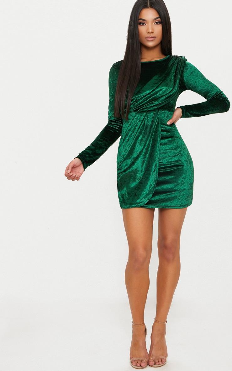 Emerald Green Long Sleeved Velvet Wrap Detail Bodycon Dress 4