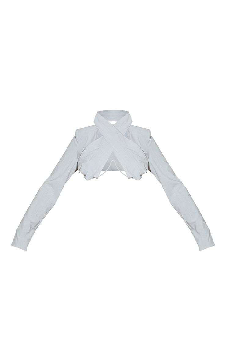 Light Grey Woven Cross Front Underbust V Bar Long Sleeve Crop Top 5