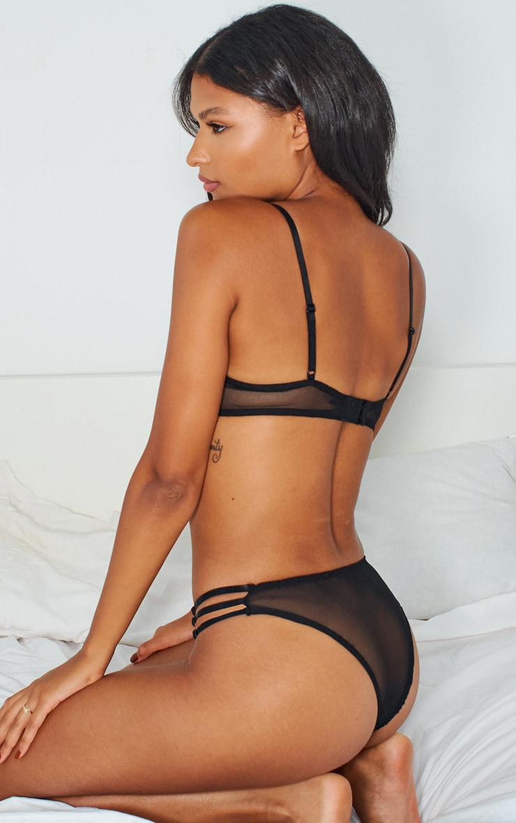 Black Contrast Lace Strapping Detail Lingerie Set 2