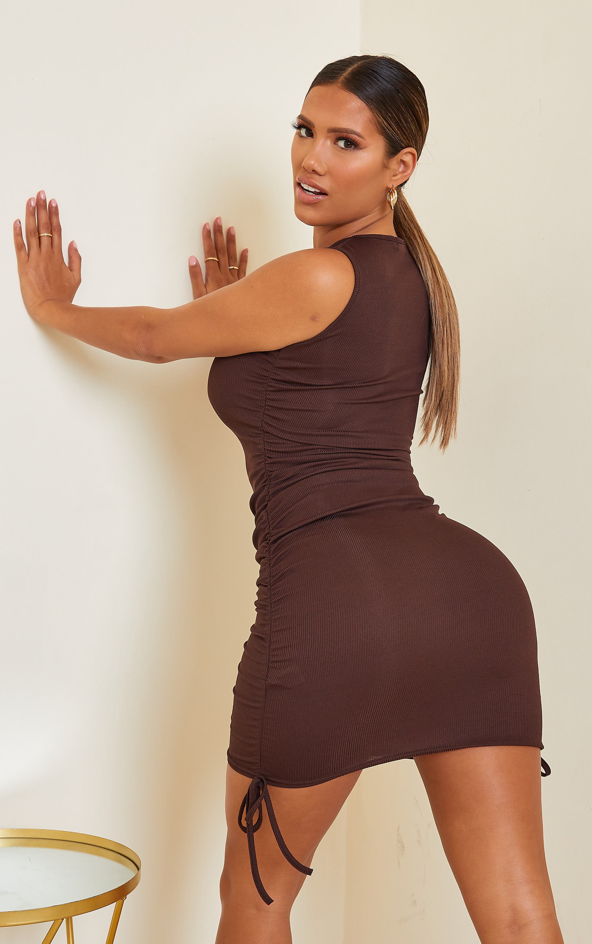 Shape Chocolate Brown Rib Ruched Side Sleeveless Bodycon Dress 2