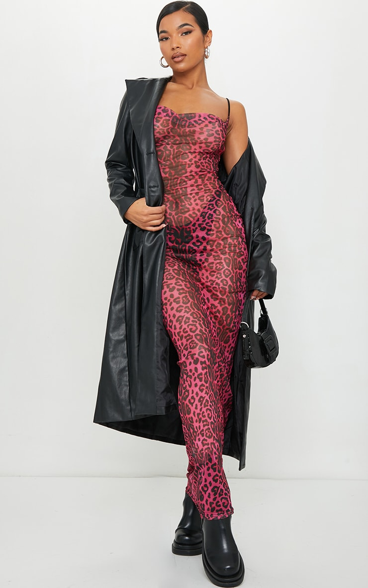 Hot Pink Leopard Print Cowl Maxi Dress