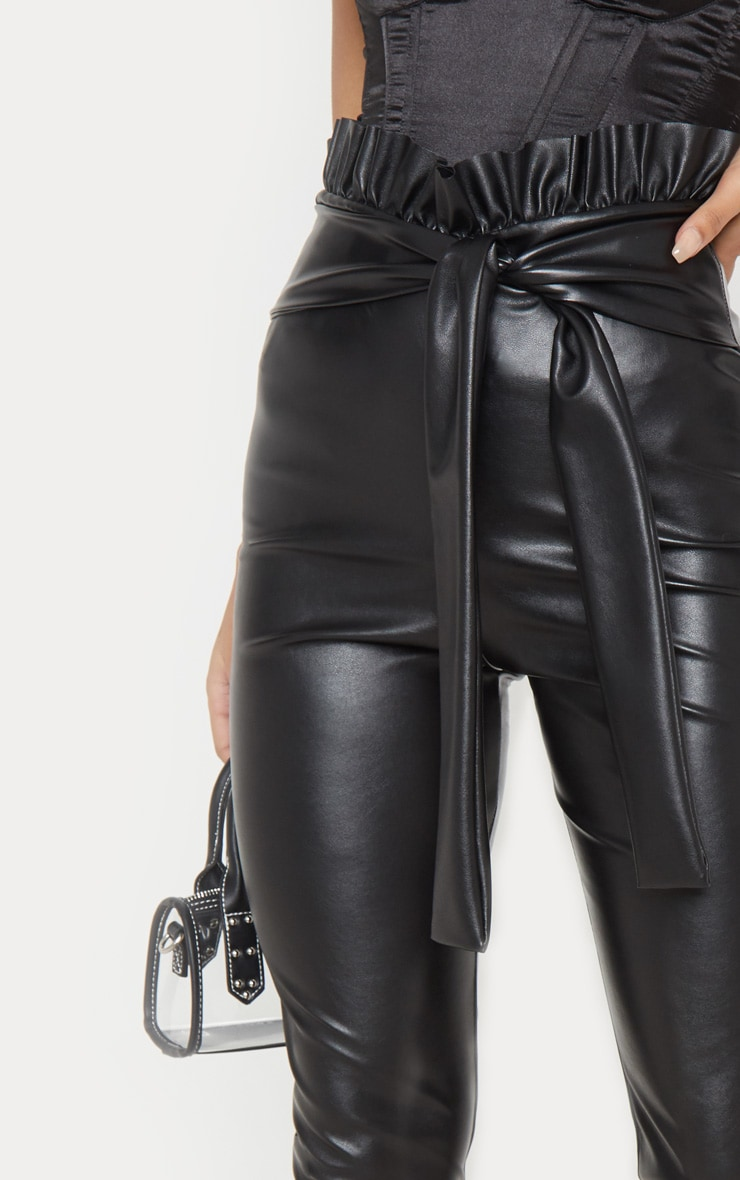 Black Faux Leather Paper bag Skinny Pants 5