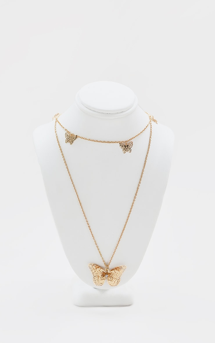 Gold Multi Layered Butterfly Necklace 1