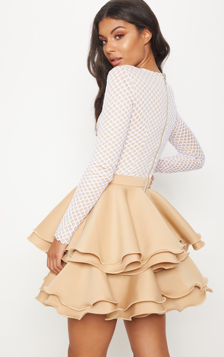 Nude Applique Detail Ruffle Tiered Skater Dress 2