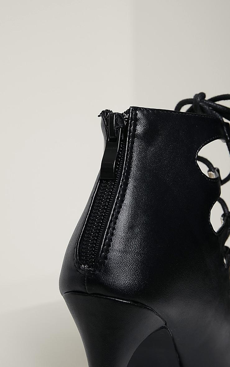 Tiggy Black Lace Up Heeled Sandals 7