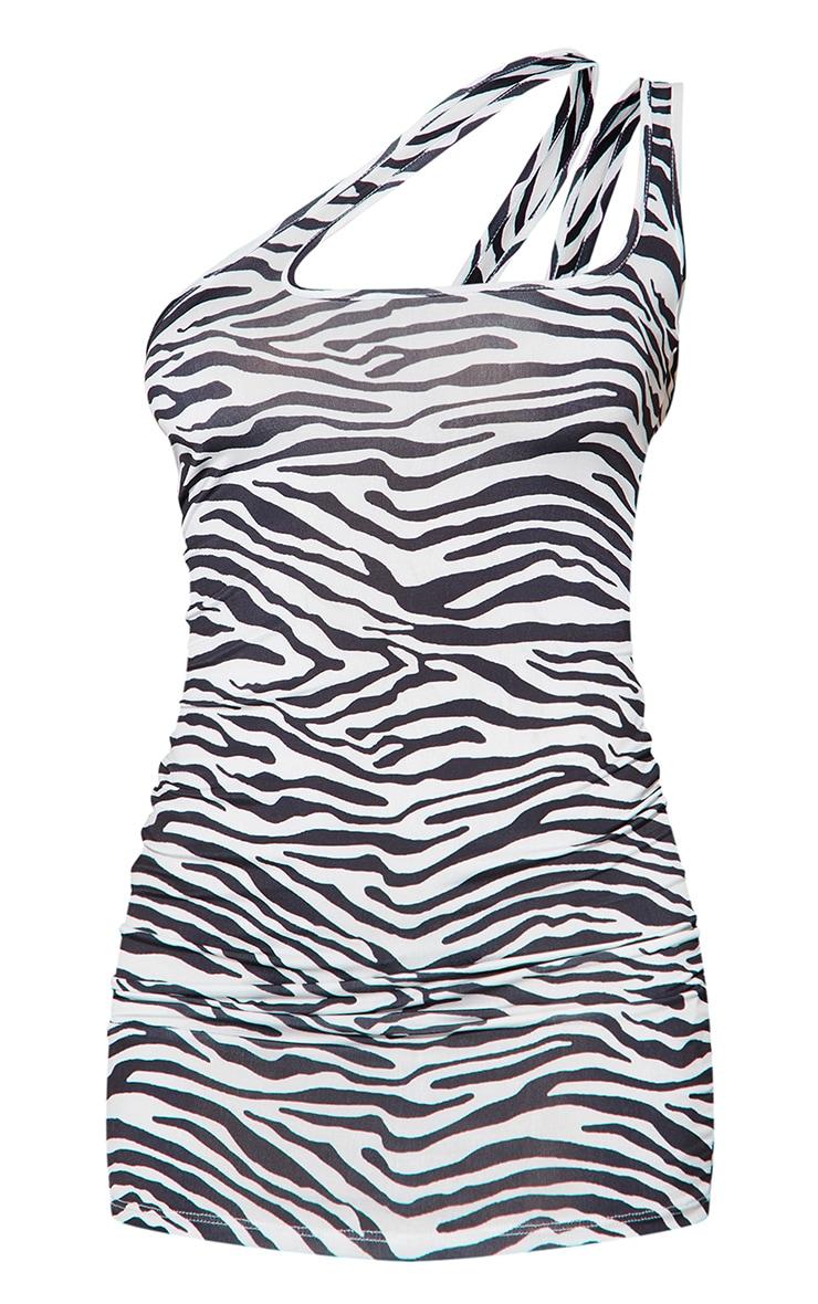 Black Zebra Print Slinky One Shoulder Cut Out Detail Bodycon Dress 5