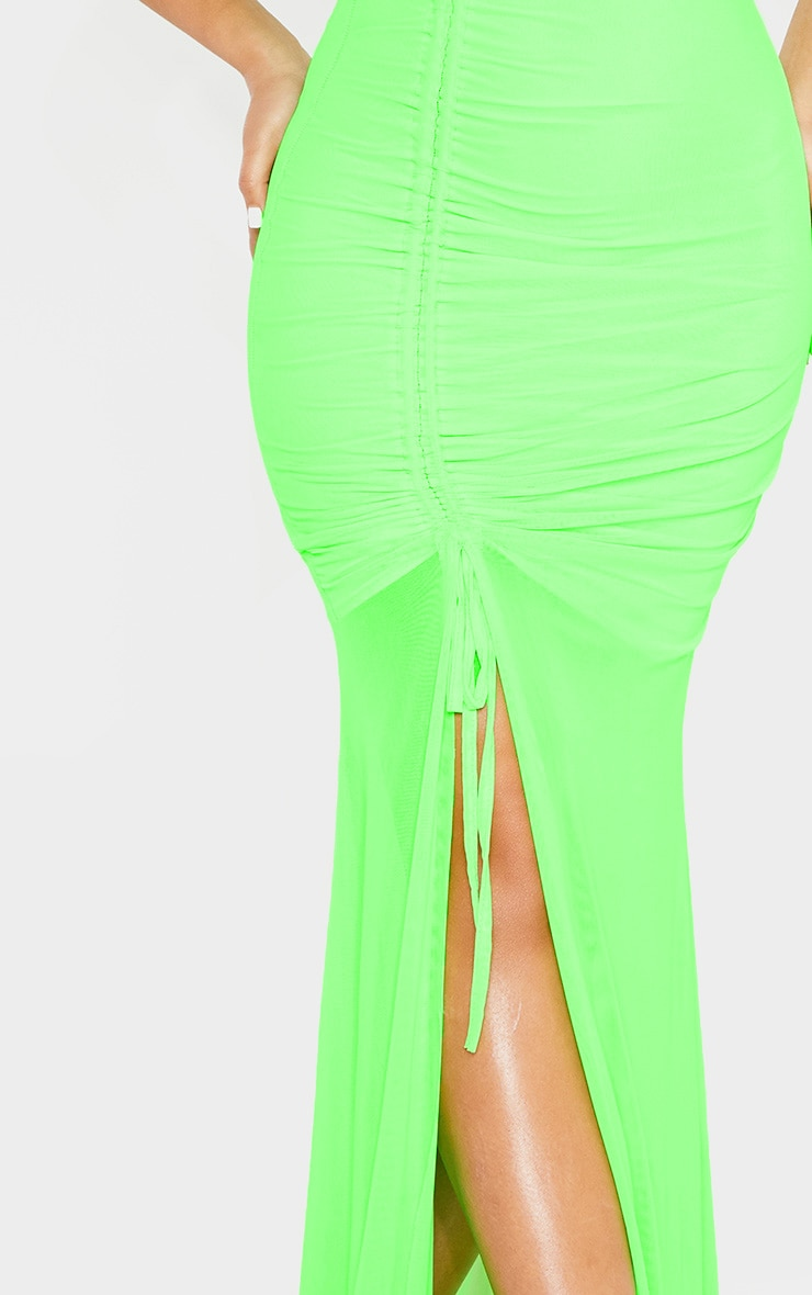 Neon Lime Mesh Ruched Cup Detail Maxi Dress 5