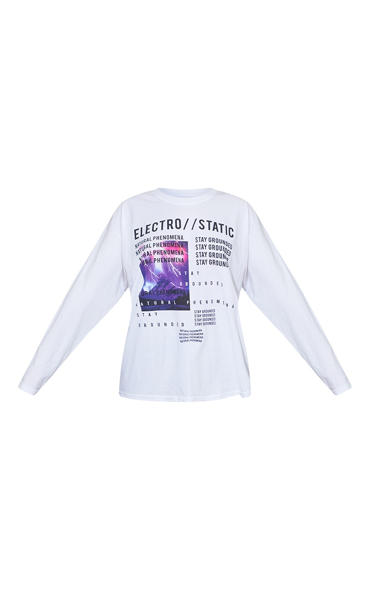 White Electro Static Oversized Print Long Sleeve T Shirt 5
